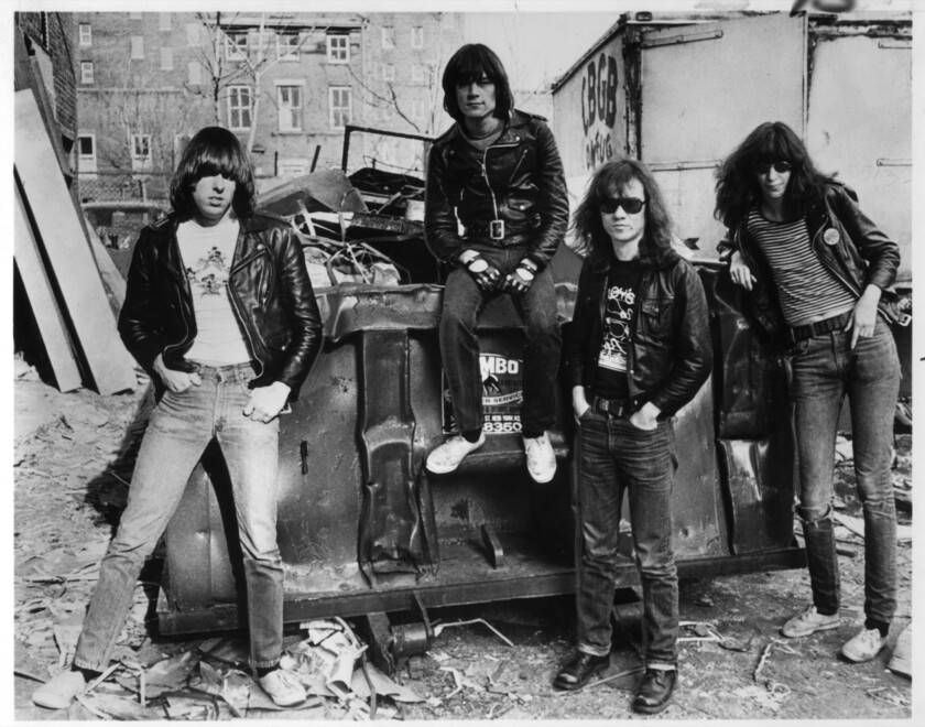 Johnny Ramone, left, with bandmates Dee Dee, Tommy and Joey in 1978.