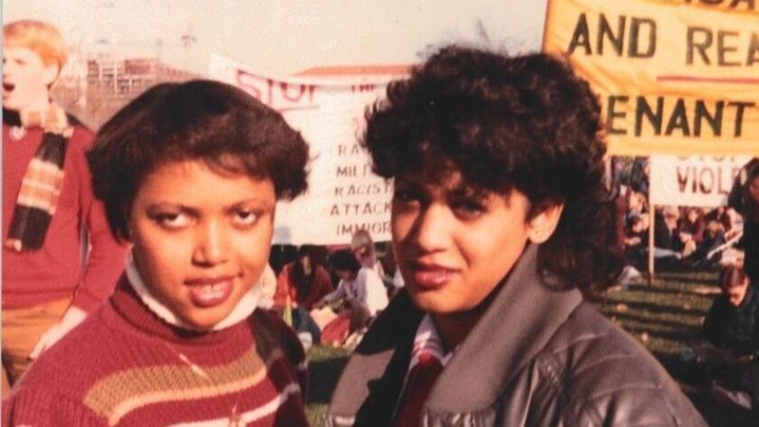 Kamala Harris, right,  with classmate Gwen Whitfield on the National Mall in November 1982.
