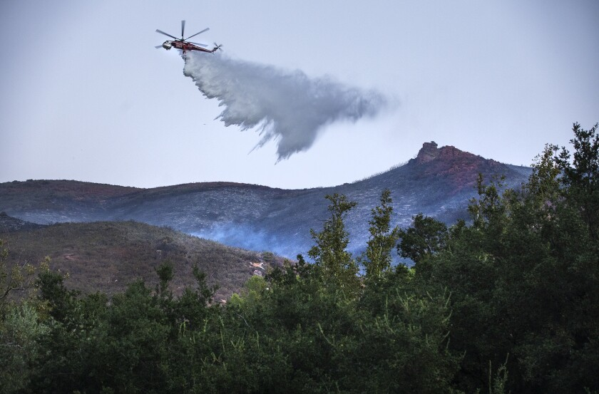 A water drop on the Martindale fire burning above Bouquet Canyon Road in the Angeles National Forest, north of Santa Clarita.
