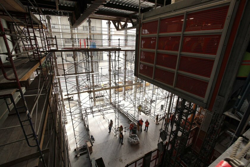 The three-level atrium at the new courthouse will provide enough room for security checks inside the building. A cafe will overlook the atrium.