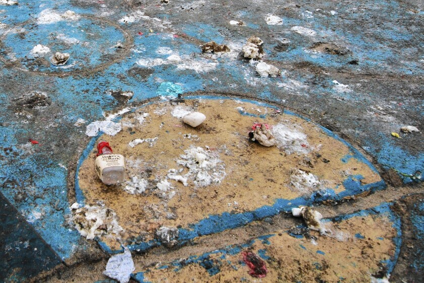 """One Ocean Beach merchant says the annual marshmallow fight has become """"15 minutes of fun and a month of cleanup."""" He also noted that the little blobs of sugar are not good for the gulls that forage the beach."""