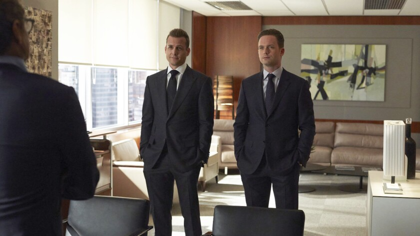 "Gabriel Macht, left, and Patrick J. Adams in ""Suits"" on USA."