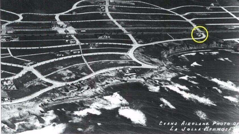 A historical photograph shows the location of the house at 5805 Camino de la Costa in the original L