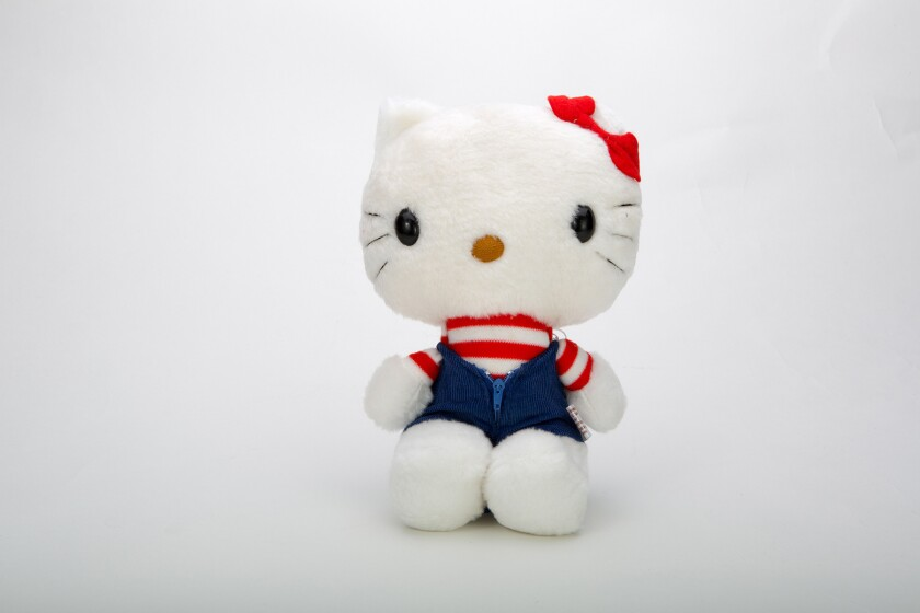 Hello Kitty first made her way to the United States in 1976. This plush doll, from the same year, will be the oldest item on view at an exhibition devoted to the cartoon icon at the Japanese American National Museum.