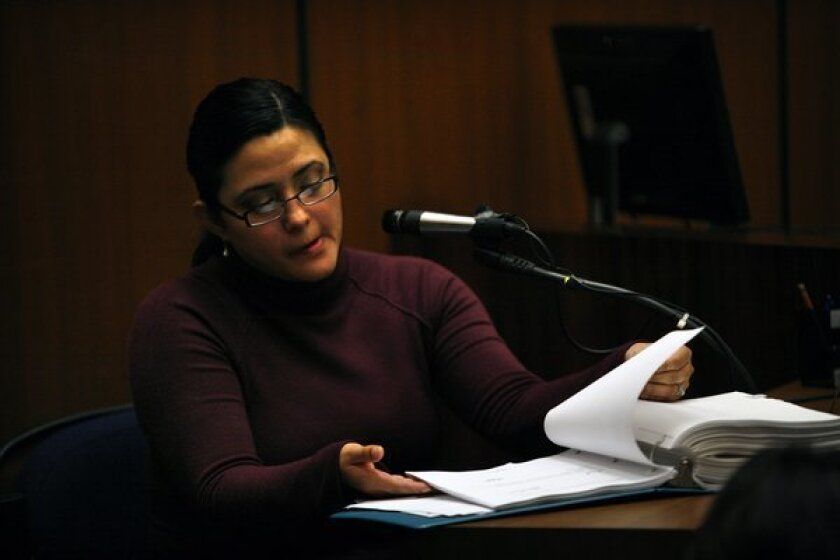 Bell City Clerk Rebecca Valdez on the witness stand in 2011.
