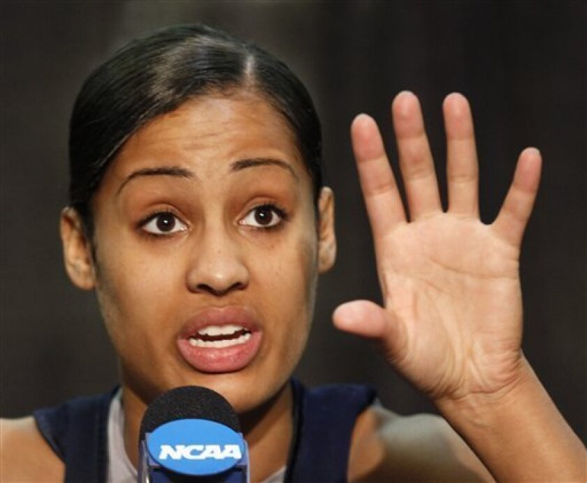 Notre Dame's Skylar Diggins answers a question during a press conference before the women's NCAA Final Four national championship college basketball game in Indianapolis, Monday, April 4, 2011. Notre Dame faces Texas A&M in Tuesday's game.(AP Photo/Michael Conroy)