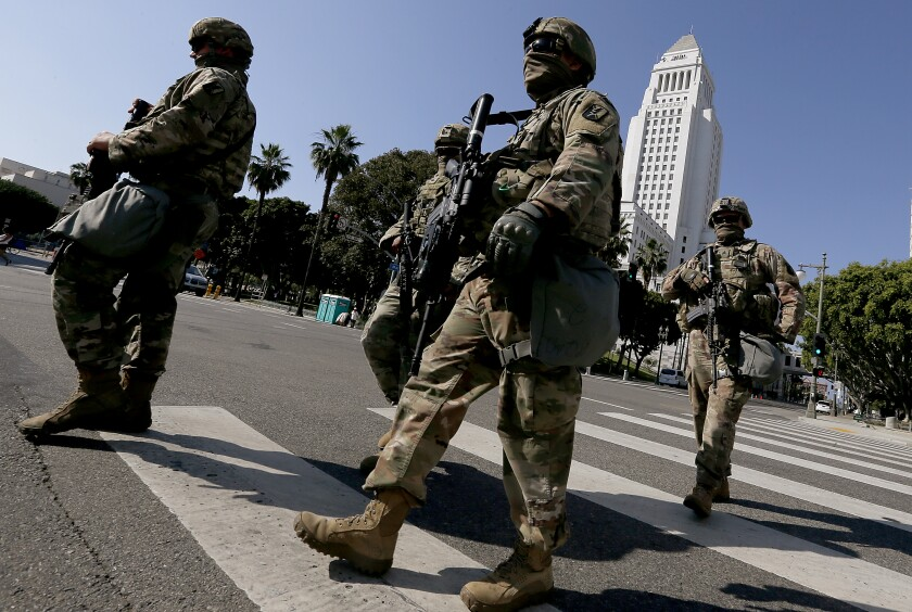 National Guard troops deploy in downtown Los Angeles on June 4, 2020, before a protest over George Floyd's death.