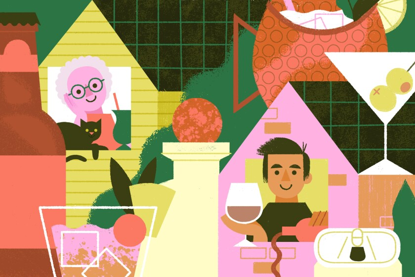 Illustration of people drinking at home.