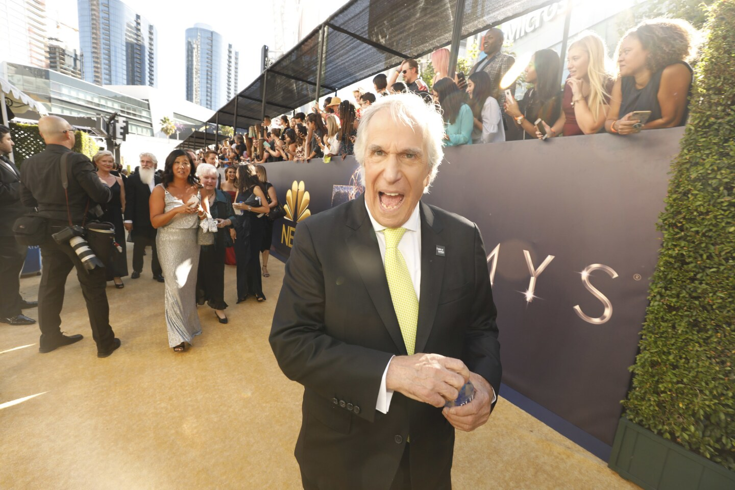 Emmy winner Henry Winkler arriving at the 70th Primetime Emmy Awards at the Microsoft Theater.