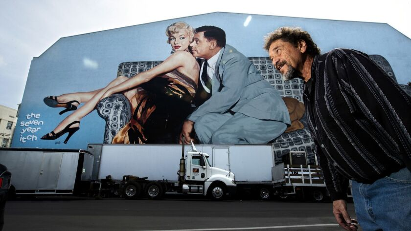 LOS ANGELES, CA-MARCH 1, 2019: Scenic painter Michael Denering is photographed in front of a mural