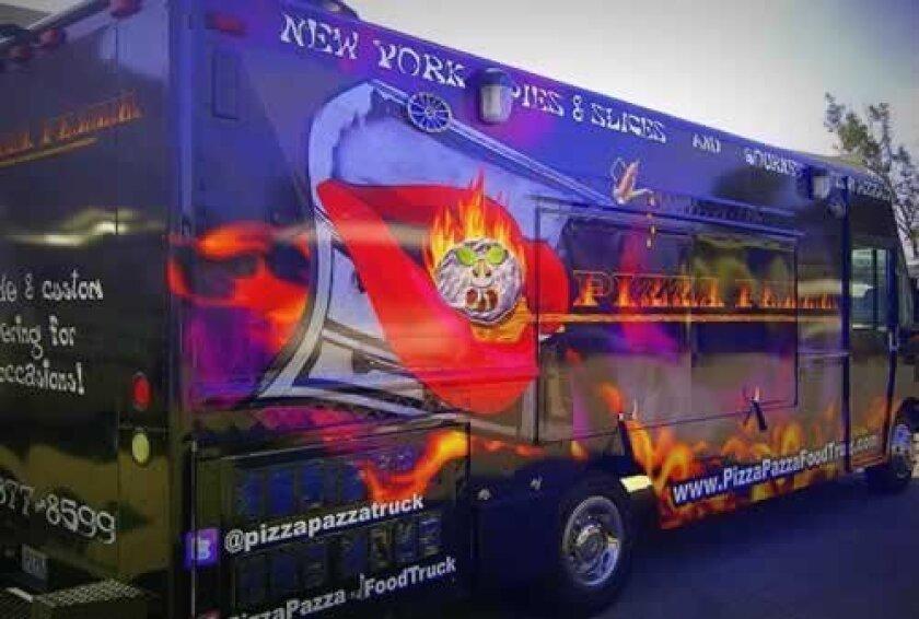 The purple Pizza Pazza truck drives around La Jolla selling gourmet pizza and Italian food. Courtesy