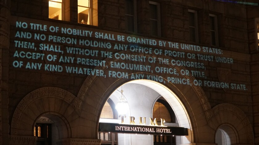 Bell projected excerpts of the emoluments clause from the U.S. Constitution, which bars public serva