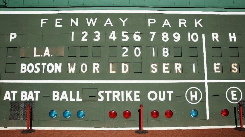 The left field scoreboard at Boston's Fenway Park is shown on Monday.