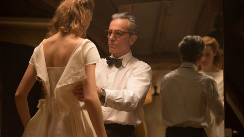 """Vicky Krieps, left, and Daniel Day-Lewis appear in a scene from """"Phantom Thread."""""""