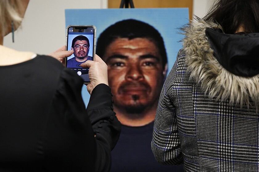 A photo of Paul Perez, 57, is displayed during a news conference in Woodland, Calif., on Monday.
