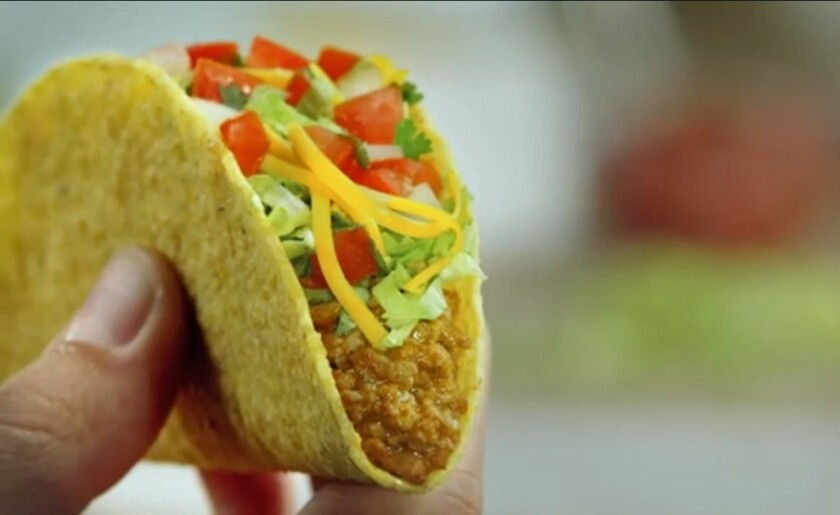 A Del Taco turkey taco.