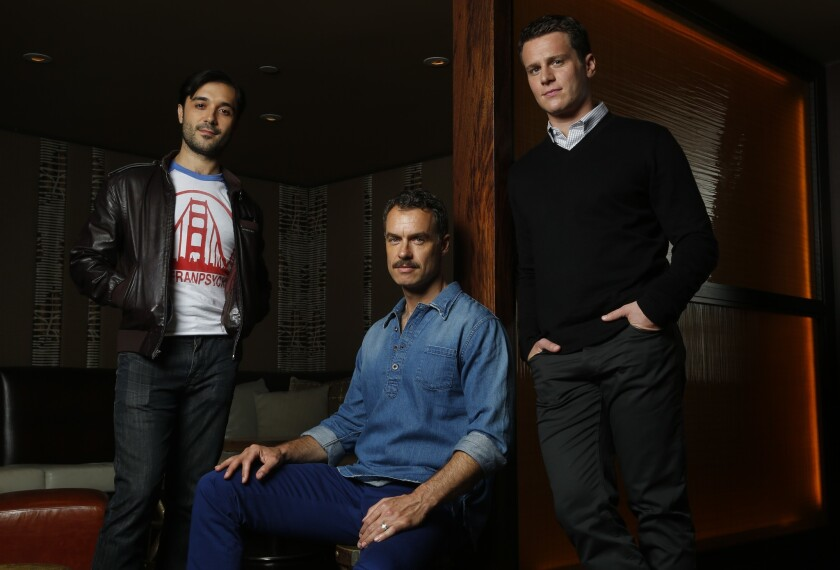 "Frankie J. Alvarez, left, Murray Bartlett and Jonathan Groff star in ""Looking,"" a series about three gay friends in San Francisco."