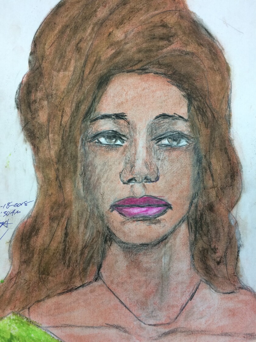 Samuel Little, confessed serial killer, rendered this portrait of a woman he says he killed in Las Vegas