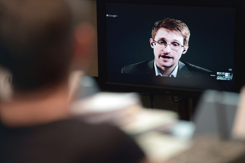 American fugitive Edward Snowden speaks to European officials in Strasbourg, France, on June 24 during a video linkup from his refuge in Russia.