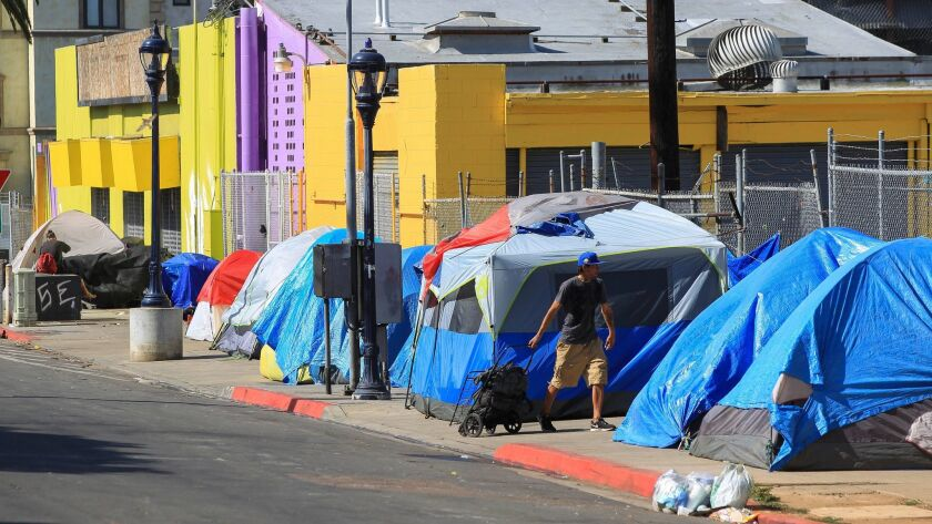A homeless encampment on 17th Street in downtown San Diego.