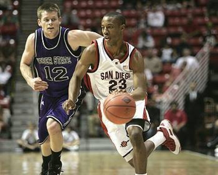 San Diego State guard D.J. Gay drives past Weber State's Nick Hansen.