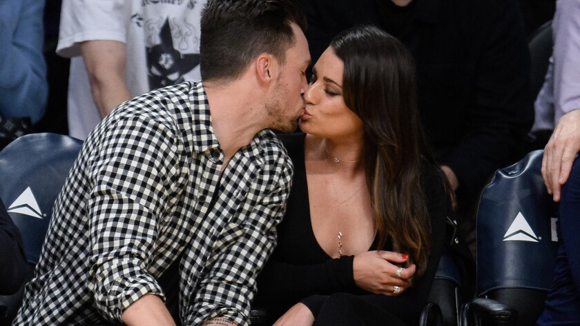 Lea Michele and Matthew Paetz are their own kiss-cam