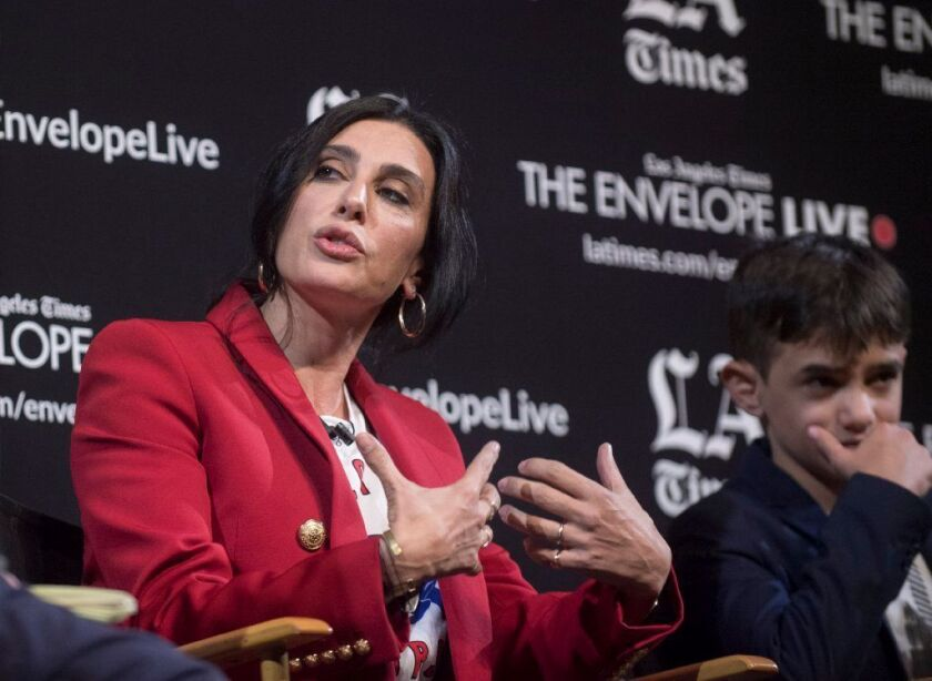 """Director Nadine Labaki and actor Zain Al Rafeea in a discussion at the L.A. Times Envelope Live screening of """"Capernaum."""""""