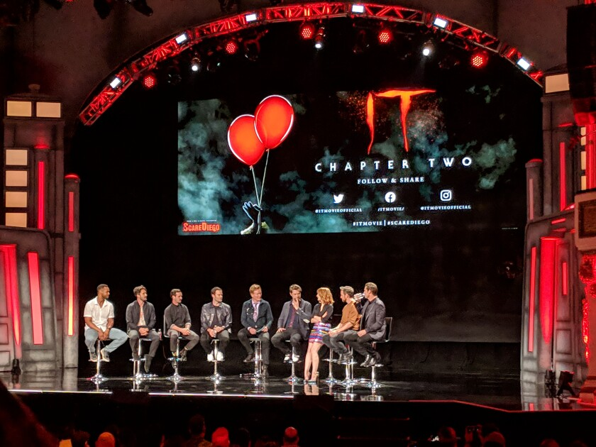 "(from left) Isaiah Mustafa, Andy Bean, James Ransone, Bill Hader, moderator Conan O'Brien, Andres Muschietti, Jessica Chastain, James McAvoy and Jay Ryan attend an ""It Chapter Two"" panel July 18 at San Diego Comic-Con."