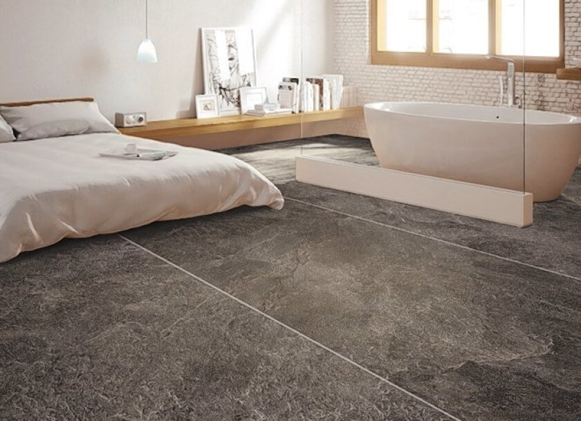 Large-format tiles across multiple rooms are a growing trend.