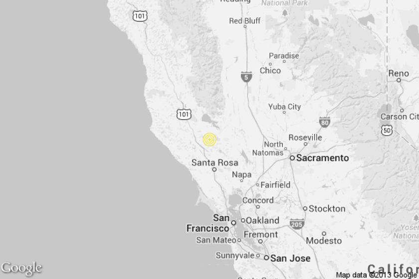 A map shows the location of the epicenter of Sunday afternoon's quake near The Geysers, Calif.