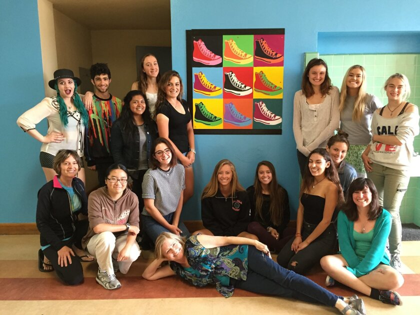 Students work on the masters' art project at La Jolla High School's 500 Building