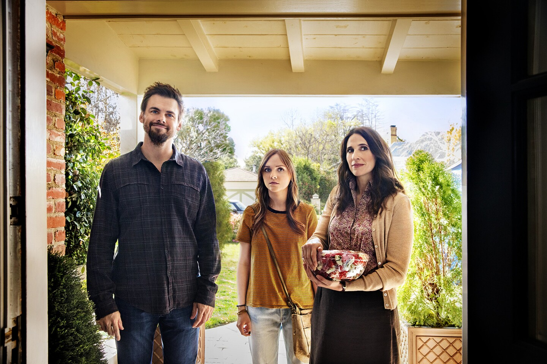 "Tommy Dewey, left, Tara Lynne Barr and Michaela Watkins in ""Casual"" Season 2."