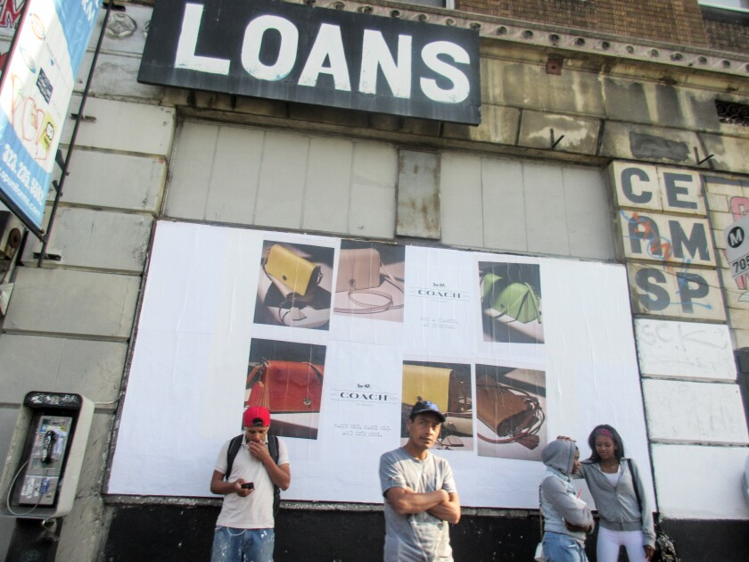 """Las Fotos Project participant Nimsy Rivas, 17 at the time, juxtaposed a sign for loans with an ad for Coach in a photo she titled """"A Day in South Los Angeles."""""""