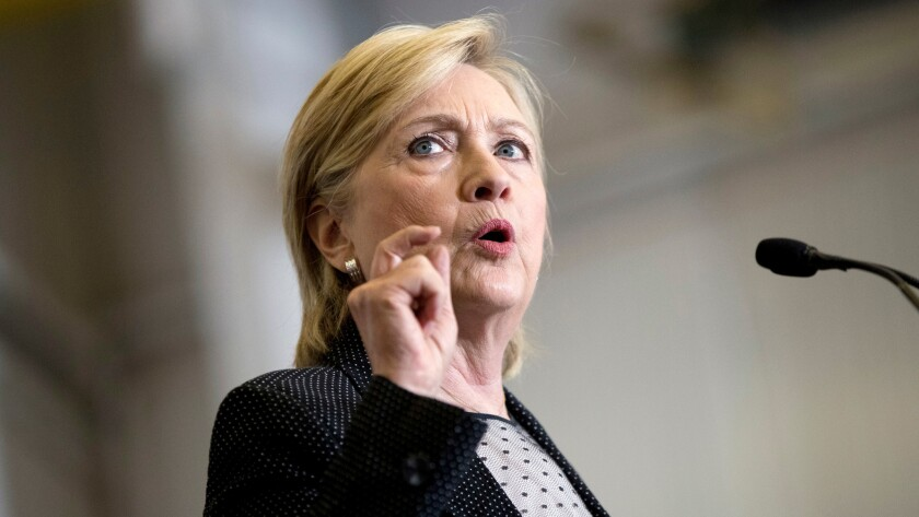 Democratic presidential candidate Hillary Clinton speaks in Michigan in August.