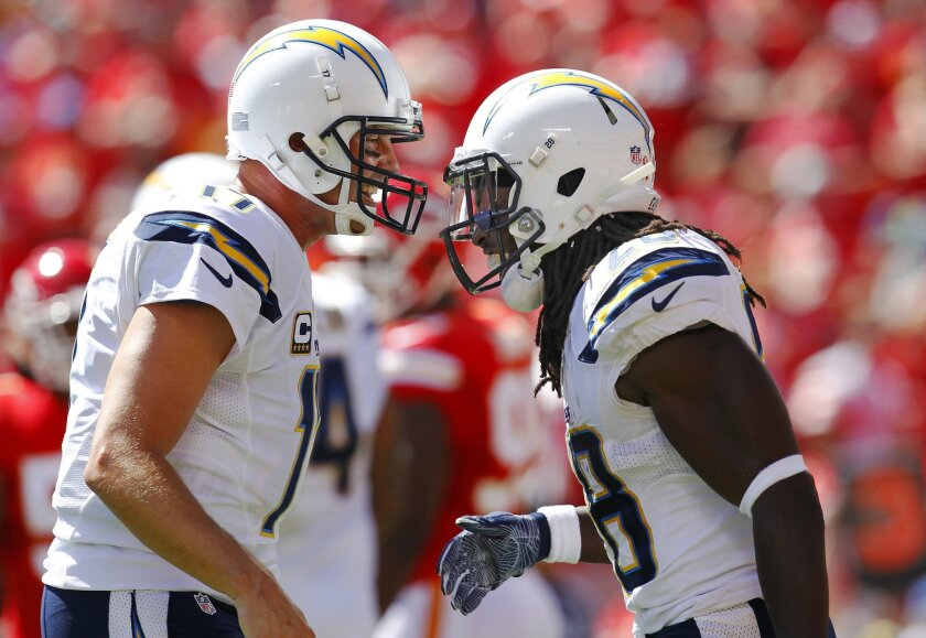 San Diego Chargers Melvin Gordon celebrates a 2nd quarter touchdown with Philip Rivers against the Kansas City Chiefs.