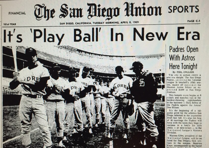 The front page of the San Diego Union on April 8, 1969, pictures the starting lineup for the first game in San Diego Padres history. Padres manager Preston Gomez (right) hands the ball to starting pitcher Dick Selma.