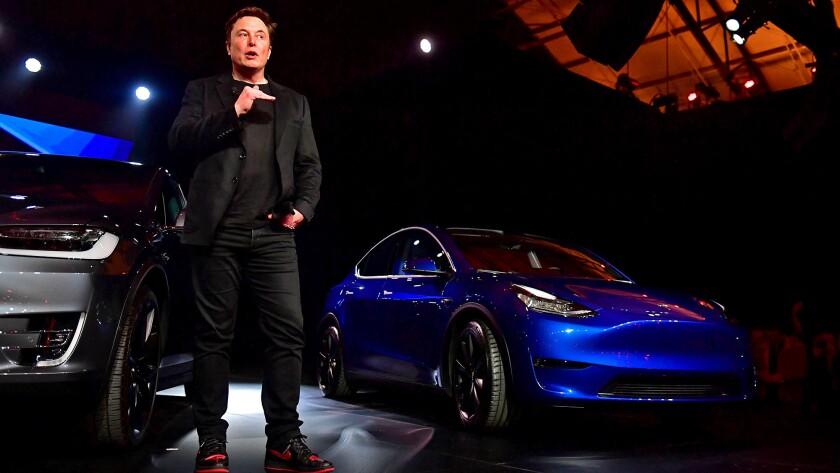 Tesla CEO Elon Musk unveils the Model Y hatchback in 2019.
