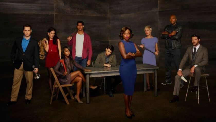 "ABC's ""How to Get Away with Murder"" stars Matt McGorry, Karla Souza, Aja Naomi King, Alfred Enoch, Jack Falahee, Viola Davis, Liza Weil, Billy Brown and Charlie Weber."