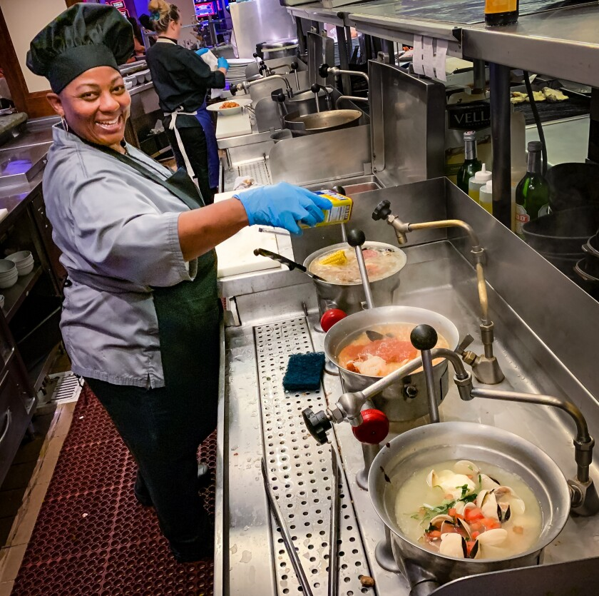 Jacqueline McMillion has been cooking pan roasts at the Oyster Bar at Harrah's Las Vegas since the restaurant opened 13 years ago.
