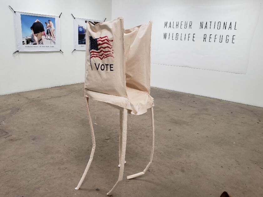 """Katie Herzog, """"Voting Booth Soft Sculpture,"""" 2019, canvas, acrylic and stuffing."""
