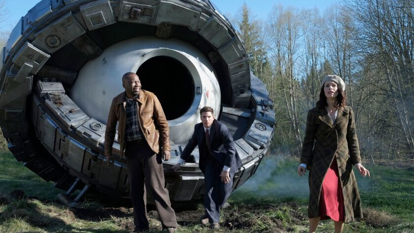 This image released by NBC shows, from left, Malcolm Barrett as Rufus Carlin, Matt Lanter as Wyatt L