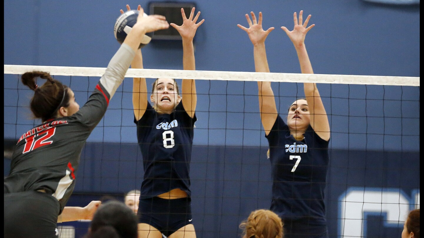 Corona del Mar's Ashley Humphreys (8) and Karly Recker (7) defend Mater Dei's Natalie Berty in the semifinals of the CIF Southern Section Division 1 playoffs.