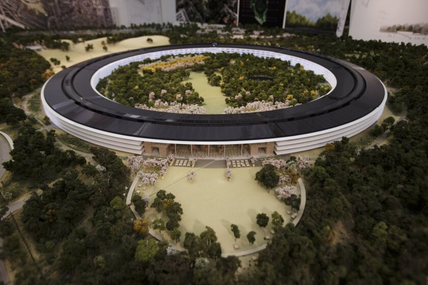 An overview of a model of Apple's proposed new campus in Cupertino, Calif.