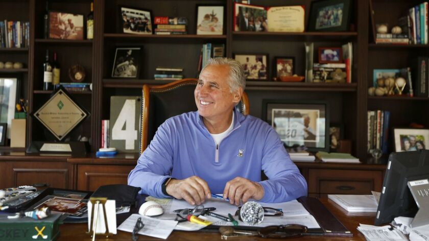 Former Padres and current Rockies manager Bud Black sits in the office of his Rancho Santa Fe home on Feb. 4. Black has led Colorado to the postseason in back-to-back years for the first time in franchise history.