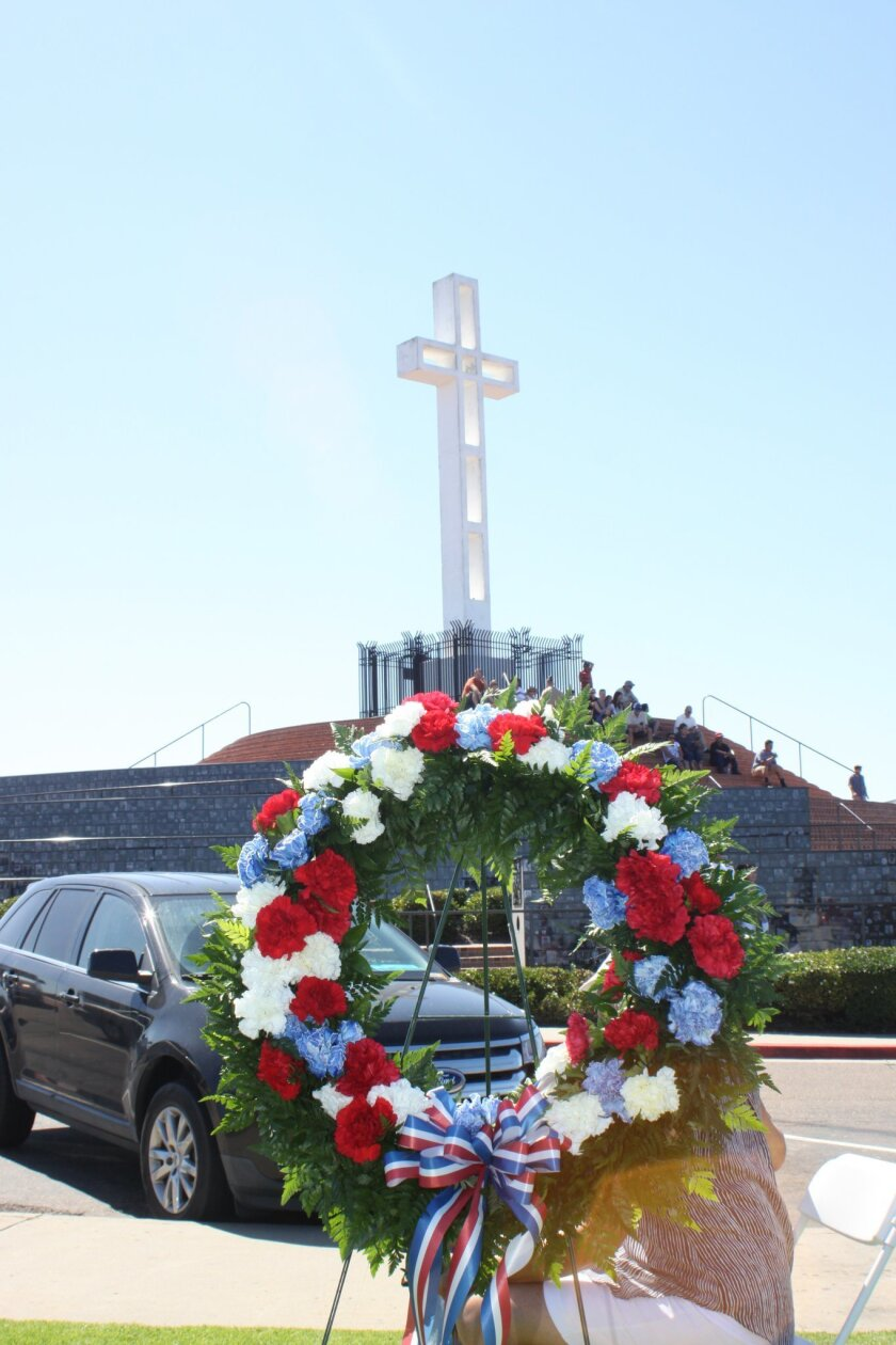 One of the fully decorated wreaths at the Mount Soledad ceremony