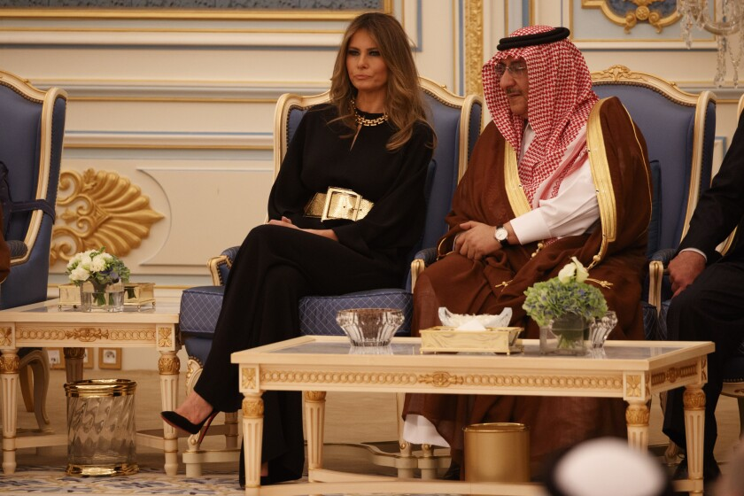 First Lady Melania Trump talks with Saudi Crown Prince Muhammad bin Nayef at the Royal Court Palace in Riyadh, Saudi Arabia, on May 20, 2017.