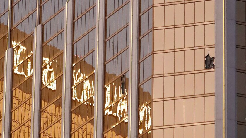Gunman Stephen Paddock broke through a window on the 32nd floor of the Mandalay Bay hotel to fire on an outdoor concert on Oct. 1.