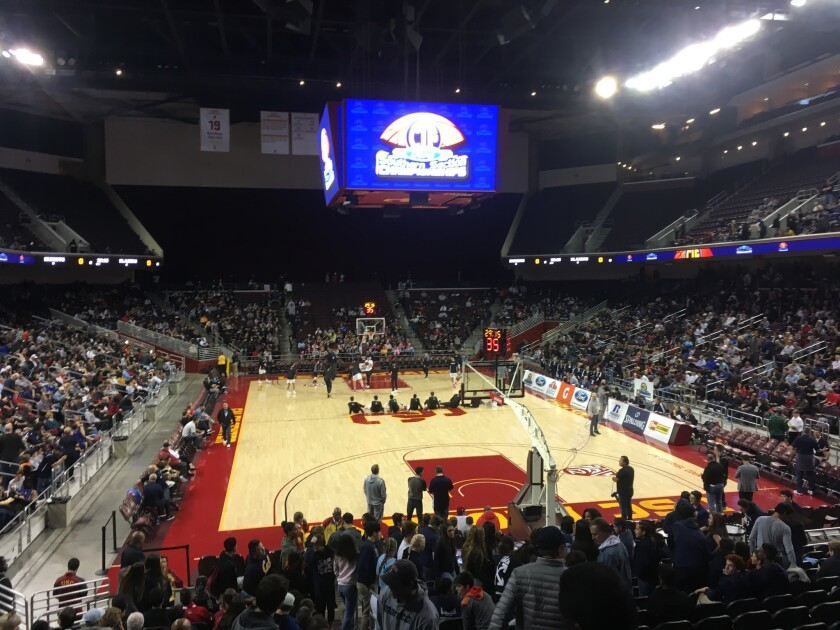 Fans filling in to sold-out Galen Center for high school basketball.