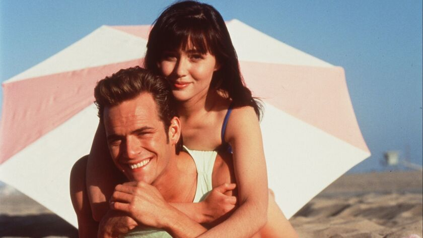 Luke Perry and Shannon Doherty of BEVERLY HILLS 90210.