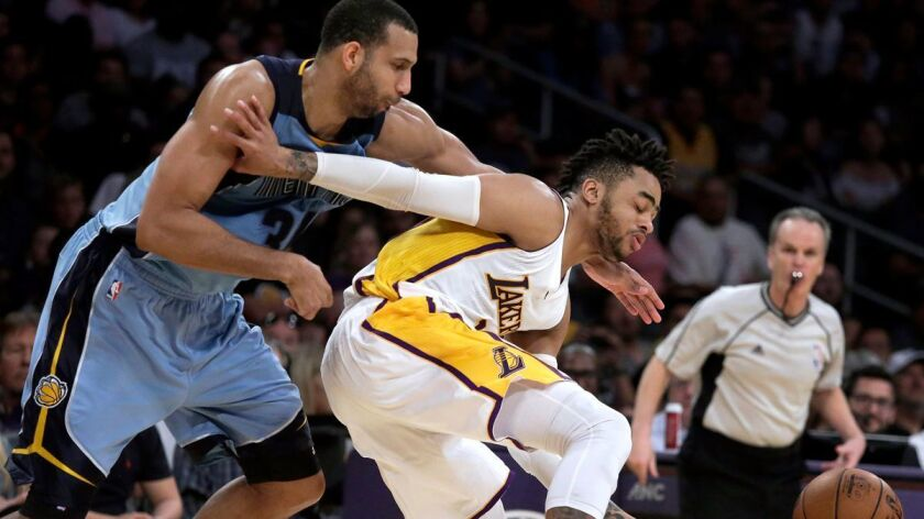 The Lakers' D'Angelo Russell, right, is fouled by Memphis Grizzlies' Brandan Wright during the second half Sunday.